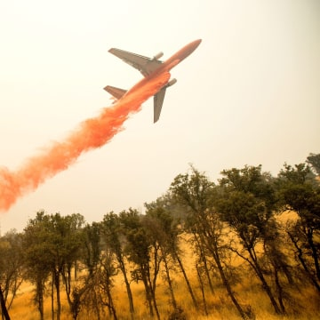 Image: An air tanker near Clearlake, California