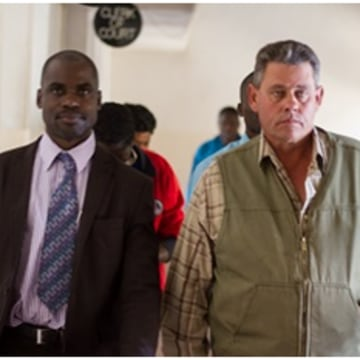 Image: Theo Bronkhorst (right) and his lawyer Givemore Muvhuringi