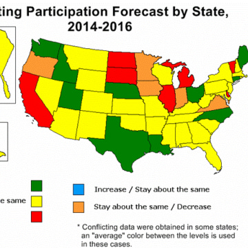 Map forecasting U.S. hunting participation