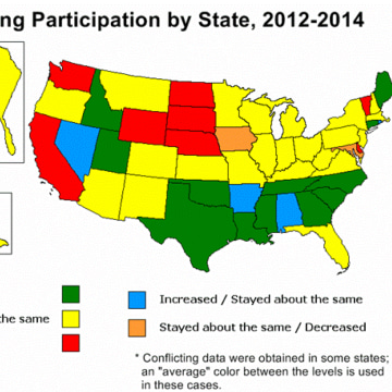 Map showing U.S. hunting participation