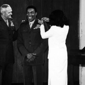IMAGE: Then-Brig. Gen. Frank E. Petersen receives his bars in 1979