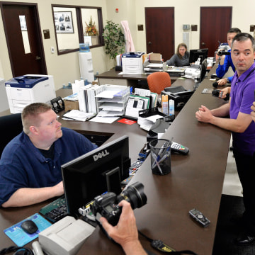 Image: A gay couple attempts to obtain a marriage license at the Rowan County Courthouse
