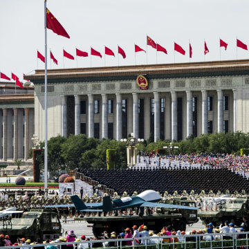 Image: Military drones are paraded in Beijing's Tiananmen Square