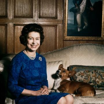 Image: Queen Elizabeth II with one of her corgis in 1970