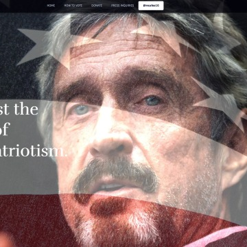 Image: McAfee for President 2016 website