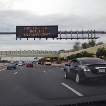 Image: Arizona freeway sign after 10th freeway shooting