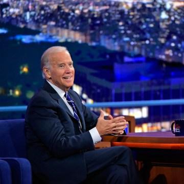Image: Stephen Colbert talks with Vice President Joe Biden