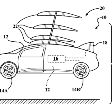 Schematic from U.S. patent application for a stackable wing for an Aerocar filed by Toyota.