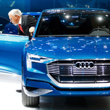 Image: Hackenberg, Board Member for Technical Development of Audi, presents the new Audi e-tron Quattro at the Frankfurt Motor Show (IAA) in Frankfurt.