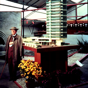 """Image: Frank Lloyd Wright at the """"Sixty Years of Living Architecture"""" exhibit"""