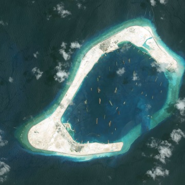 DigitalGlobe imagery of the Subi Reef in the South China Sea, a part of the Spratly Islands group