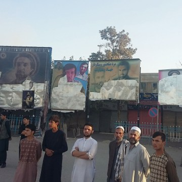 Image: Posters destroyed by Taliban fighters in Kunduz