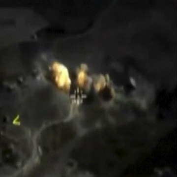 Image: Frame grab taken from footage shows explosion after airstrikes carried out by Russian air force in Raqqa