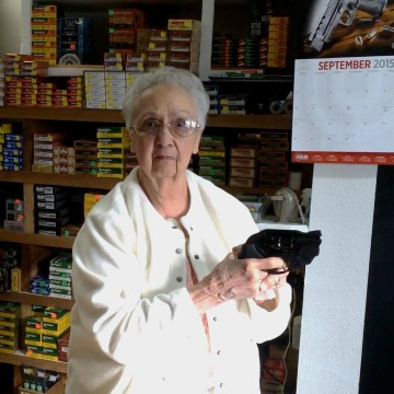 Image: gun store owner Carolyn Kellim
