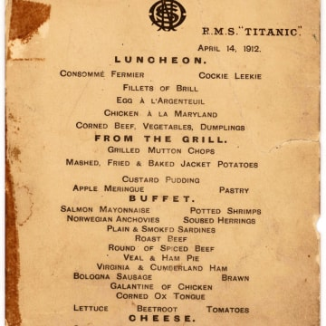 Image: Last lunch menu from the Titanic