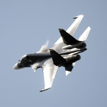 Image: A file photo of a Russian Su-30 military jet.