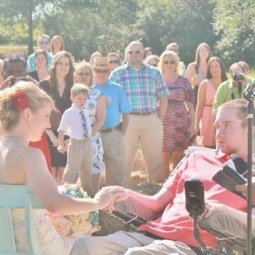 Image: Joel and Lauren Jackson on their wedding day in 2013.