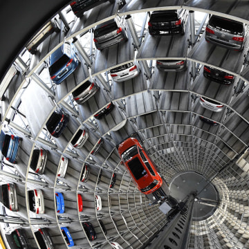 Image:  VW Golf car inside the so-called cat towers of car manufacturer Volkswagen
