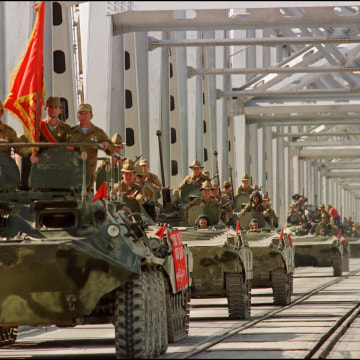 Image: A convoy of Soviet Army armored personnel in May, 1988.
