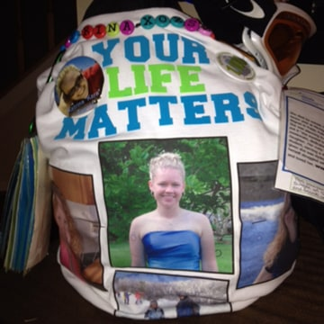 Image: A backpack in memory of Kara Tagget is part of an exhibit called Send Silence Packing