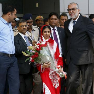Image: Geeta arrives in New Delhi on Monday
