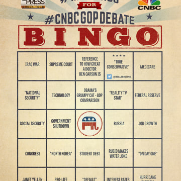 MTP Bingo Card 3 for the CNBC Debate