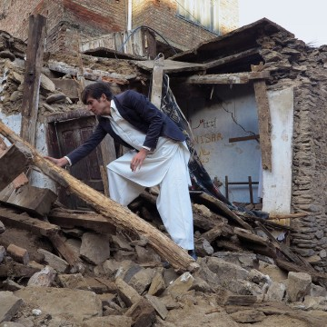 Image: A house damaged caused by massive earthquake