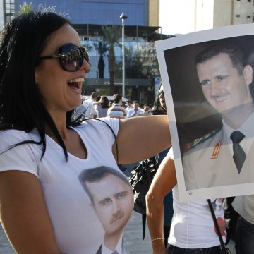 Image: Bashar Assad supporter in Damascus in June 2011