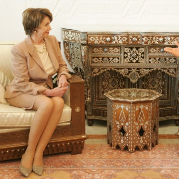 Image: Nancy Pelosi and Bashar Assad meet on April 4, 2007