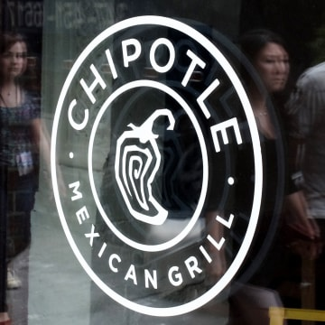 Image: People pass walk by a Chipotle Restaurant