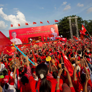 Image: Supporters of Aung San Suu Kyi