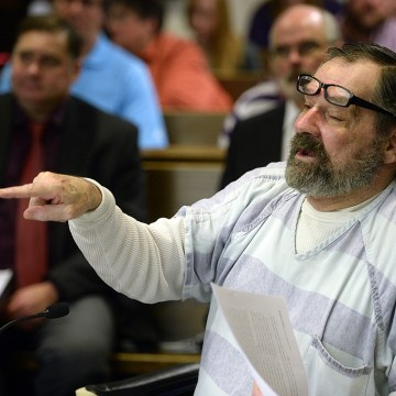 Image: Frazier Glenn Miller, a former senior member of the Ku Klux Klan, speaks during his sentencing hearing in Johnson County District Court in Olathe Kansas