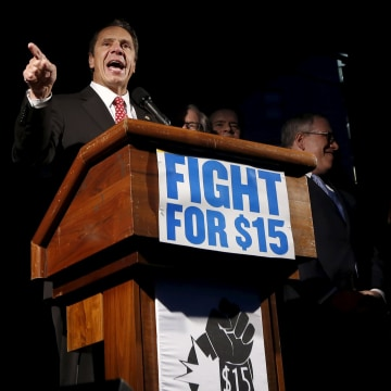 Image: New York Governor Andrew Cuomo speaks during a rally for higher wages