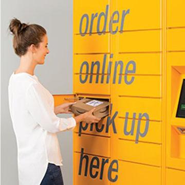 Photo: An Amazon package locker.