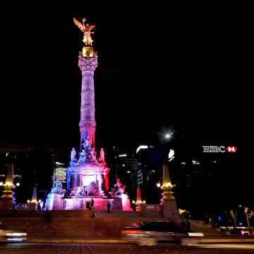 Image: Angel de la Independencia monument is lit up in blue, white and red, the colors of the French flag, following the Paris terror attacks, in Mexico City
