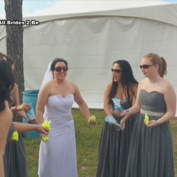 Image: Kilee Manulak and her bridesmaids destroy their dresses