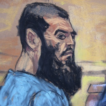 Image: File picture of Abid Naseer in a courtroom sketch as he pleads not guilty to terrorism charges in New York