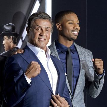 "Image: File photo of Sylvester Stallone and Michael B. Jordan during the premiere of the film ""Creed"" in Los Angeles"