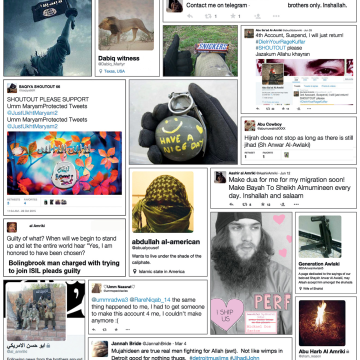 Image: A compilation on tweets included in the Program on Extremism report.