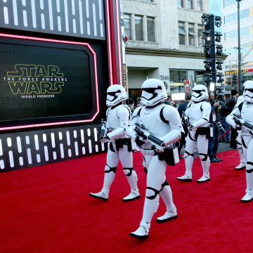 "Image: Stormtroopers at world premiere of ""Star Wars: The Force Awakens"""