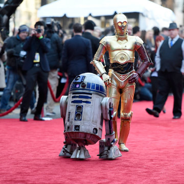 Image: Film characters R2-D2 (L) and C-3PO