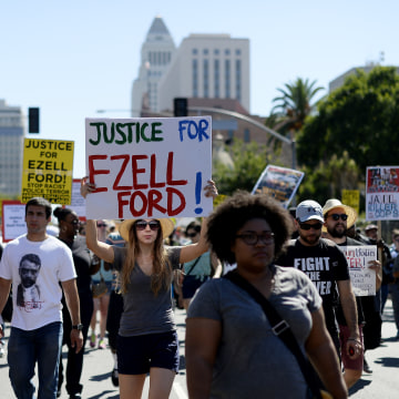 Protest At LAPD Headquarters Over Police Shooting In L.A. Area Earlier In Week