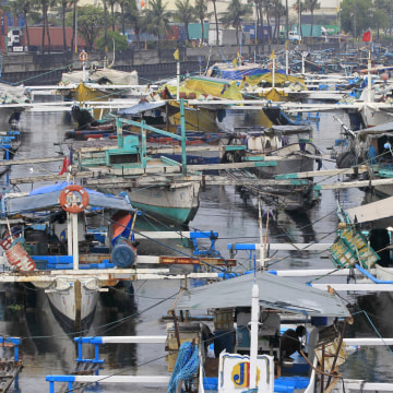 Image: Fishing boats are docked at the Manila bay in Navotas city, north of the capital