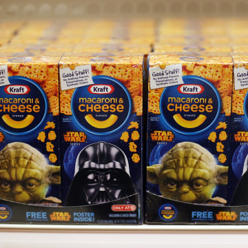 Image: A box of Star Wars Kraft macaroni and cheese is seen for sale at a Target store