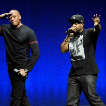 Image: N.W.A. members Dr. Dre (left) and Ice Cube