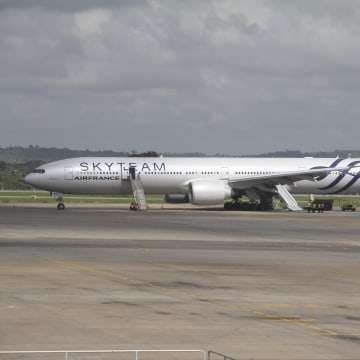 Image: At least one emergency slide was used after the Air France Boeing 777 from Mauritius to Paris diverted to Mombasa,  Kenya.