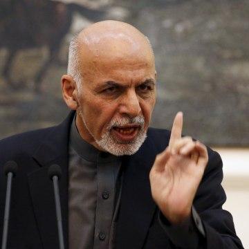 Image: Afghanistan's President Ashraf Ghani speaks during a news conference in Kabul