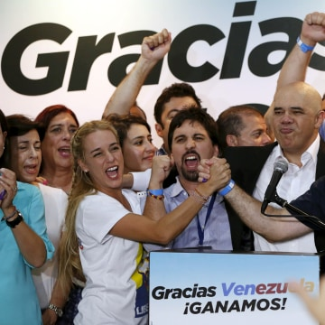 Image: Lilian Tintori, wife of jailed Venezuelan opposition leader Leopoldo Lopez, celebrates on Dec. 7