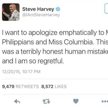 IMAGE: Steve Harvey apology tweet