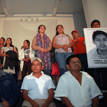 Image: Conference with parents of missing students in Mexico City